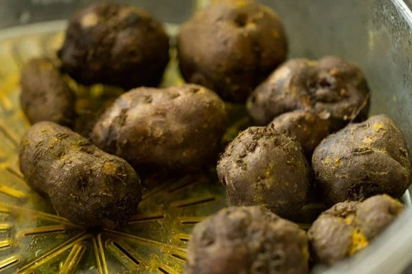 steamed koorka or Chinese potatoes