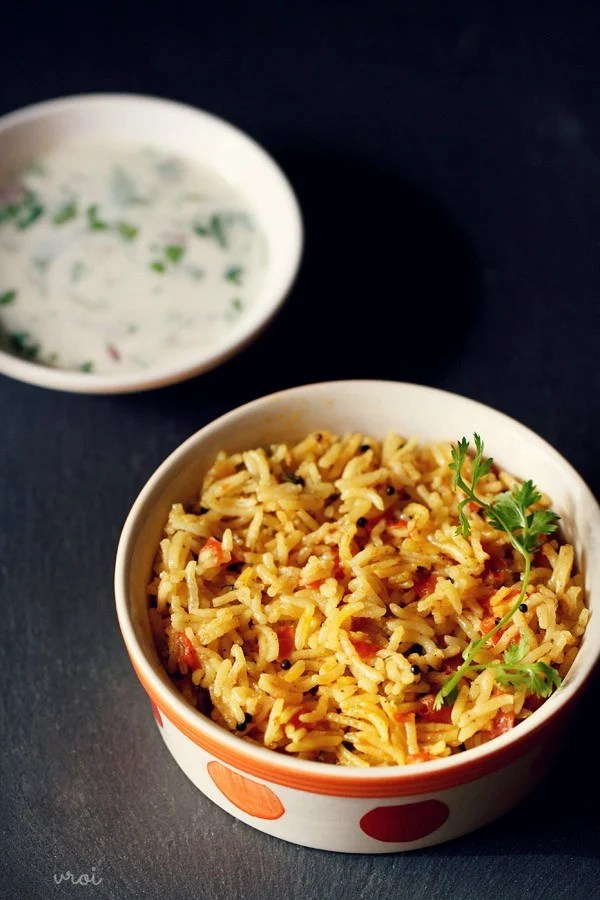 tomato rice, tomato rice recipe, south indian tomato rice