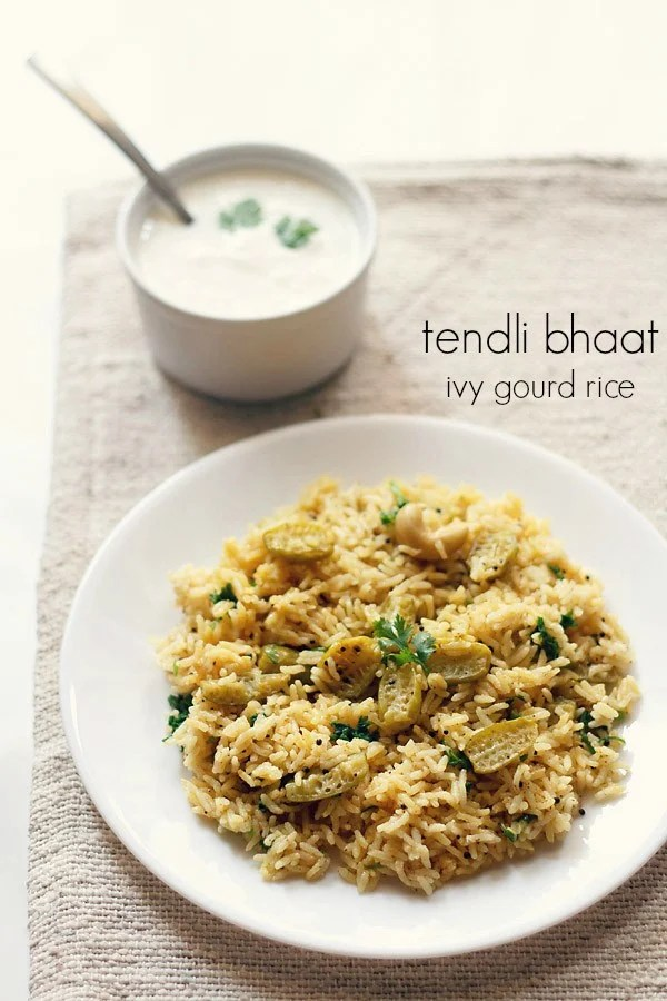 tendli bhaat recipe, ivy gourd rice, kovakkai rice
