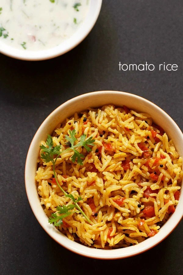 tomato rice recipe, thakkali sadam