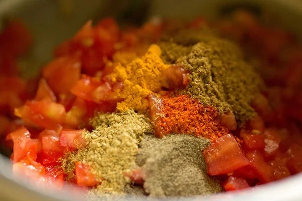 spice powders added for making tomato rice recipe