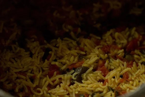 tomato rice cooked and ready to be served
