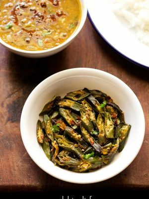 bhindi fry recipe, punjabi bhindi fry recipe