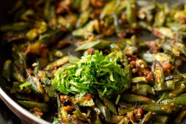 coriander for bhindi fry recipe