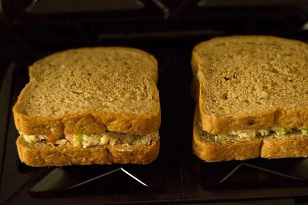 preparing capsicum toast sandwich recipe
