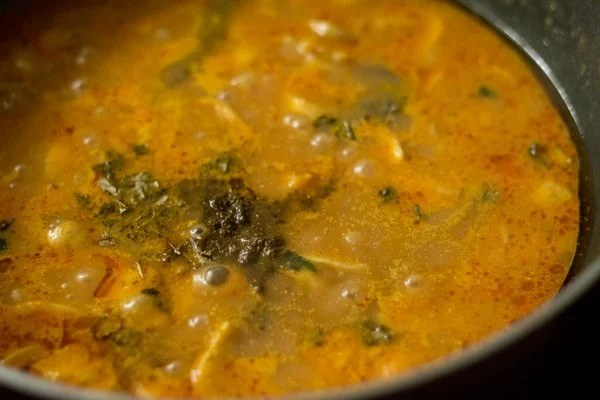 garam masala and kasuri methi added to mushroom curry