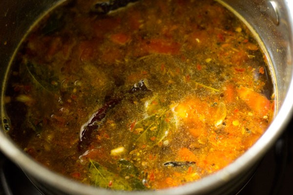 making garlic rasam recipe