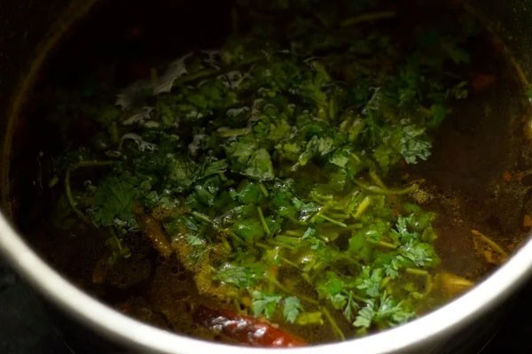 coriander for garlic rasam recipe