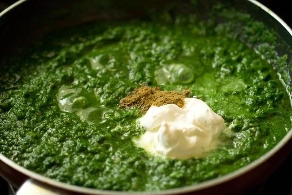 adding cream for one pot palak paneer