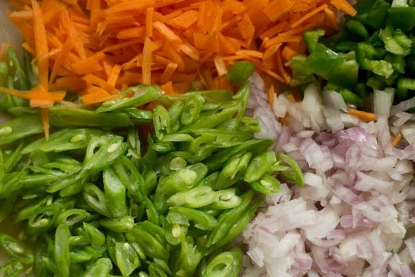 veggies for paneer fried rice recipe