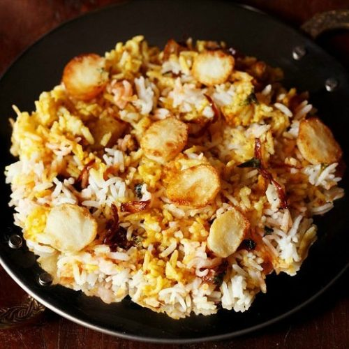 baby potato biryani recipe, aloo biryani recipe, potato dum biryani recipe