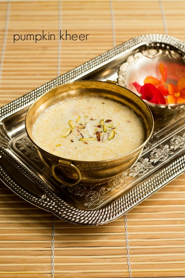 pumpkin kheer recipe, kaddu ki kheer pumpkin payasam recipe