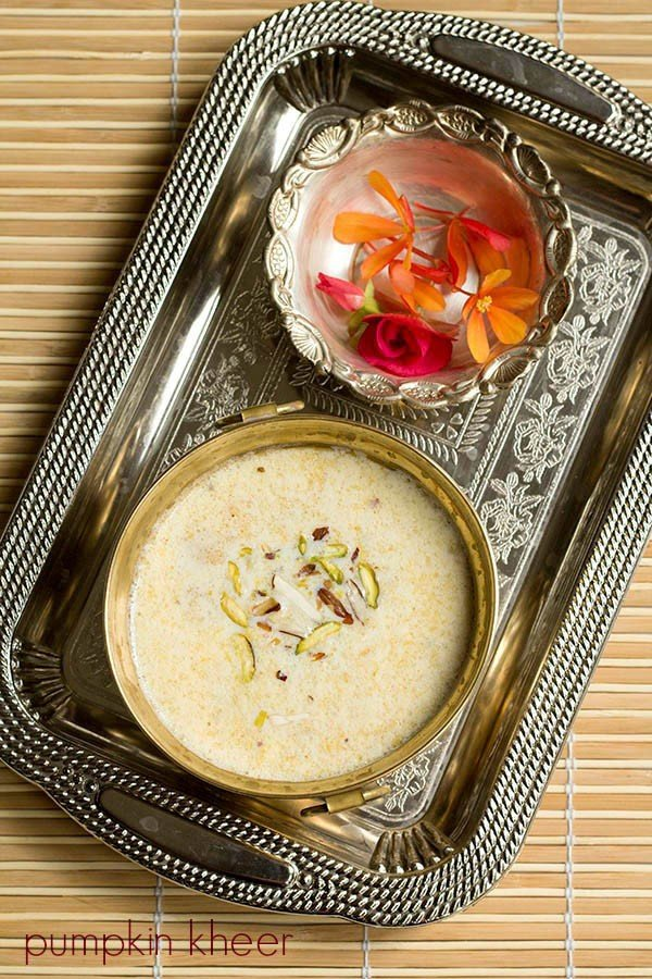 pumpkin kheer recipe, kaddu ki kheer recipe, pumpkin payasam recipe