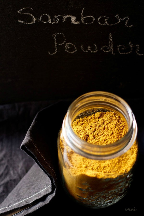 sambar powder recipe, sambar podi, sambar masala, sambar powder