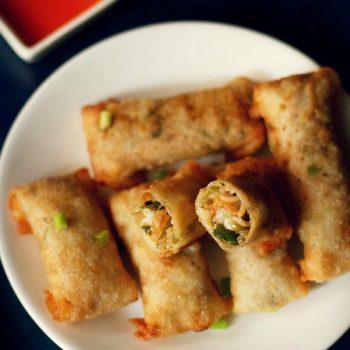 spring rolls recipe, how to make spring rolls | veg spring roll