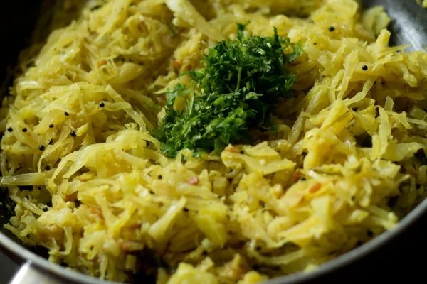 coriander for cabbage poriyal