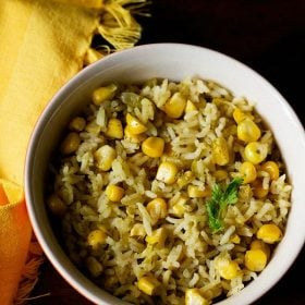 corn pulao recipe, corn rice