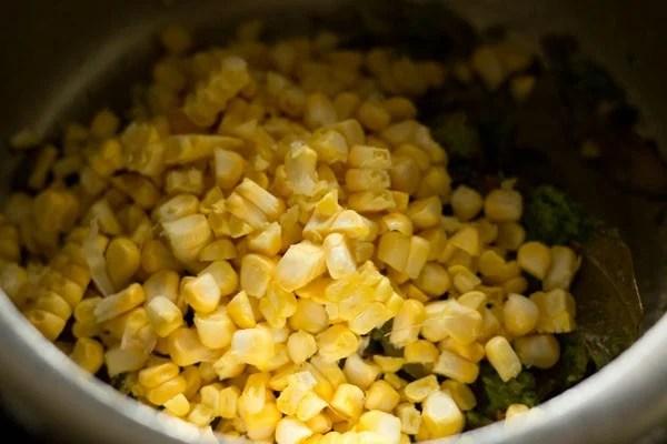 adding corn kernels