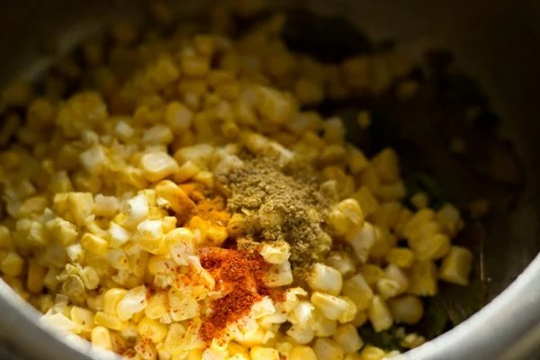 adding spices for corn rice