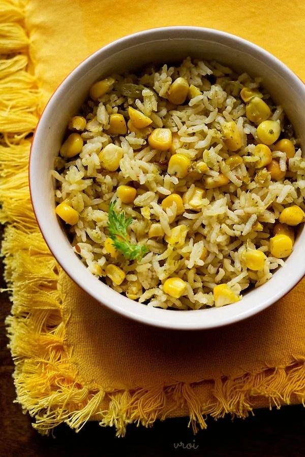 corn pulao, corn rice