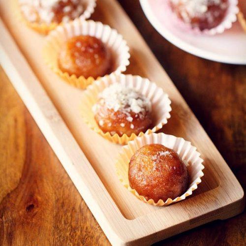 dry gulab jamun recipe, sukha gulab jamun recipe
