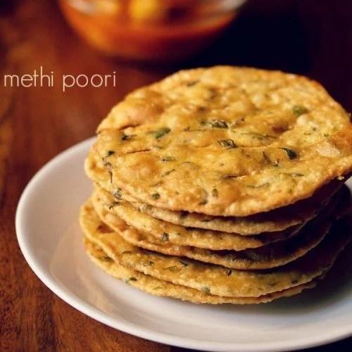 methi puri recipe, methi poori recipe