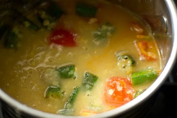 making bhindi sambar recipe