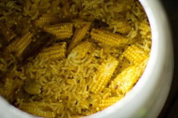 baby corn rice recipe, baby corn pulao recipe