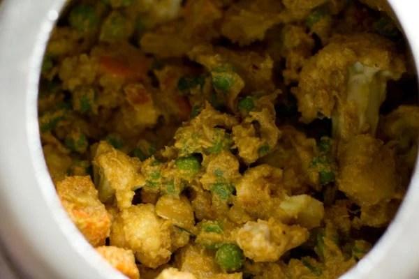 veggies mixed evenly to make veg kurma