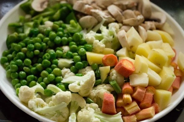 chopped veggies for veg biryani