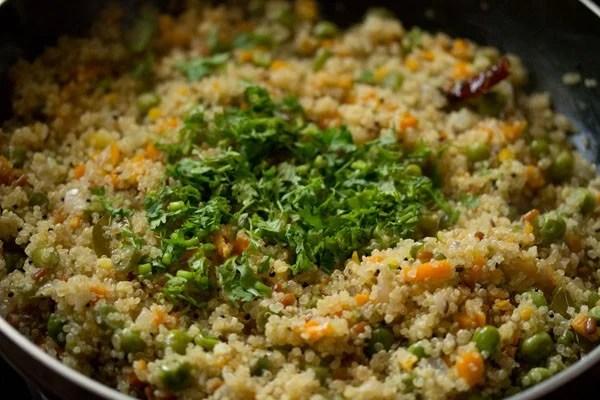 coriander for quinoa upma
