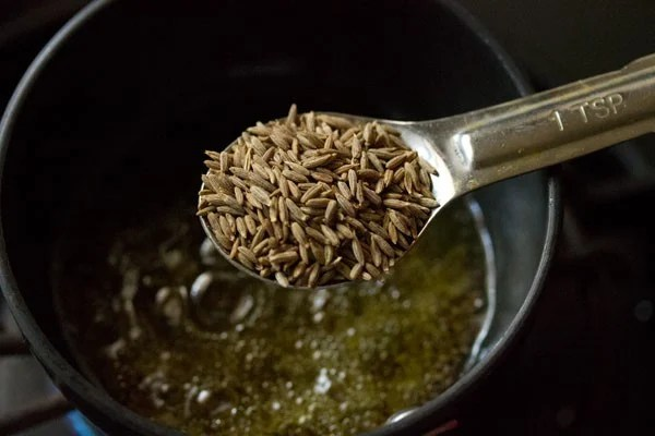 add cumin seeds to oil