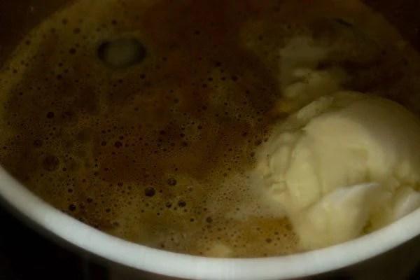preparing cold coffee recipe with ice cream