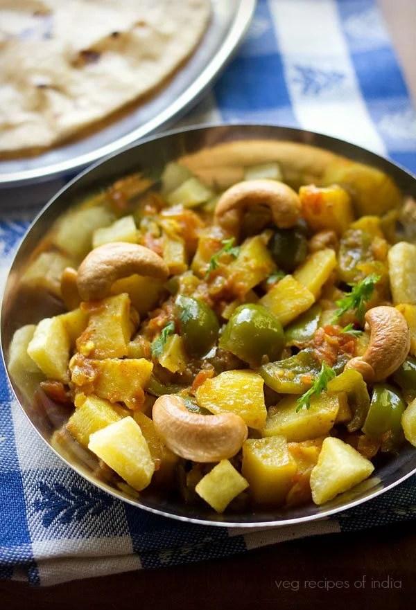 aloo capsicum curry, aloo capsicum gravy