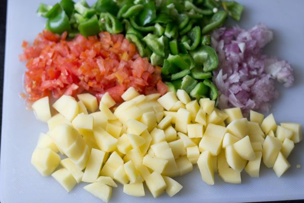chopped potatoes and capsicum