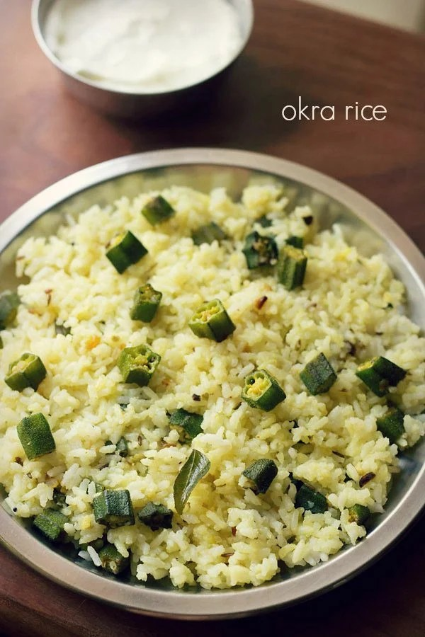 bhindi rice recipe, ladies finger rice