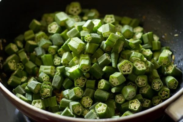 add the chopped okra