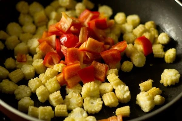 add chopped red bell pepper