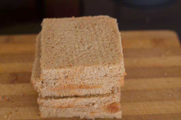 making paneer matar toast sandwich recipe