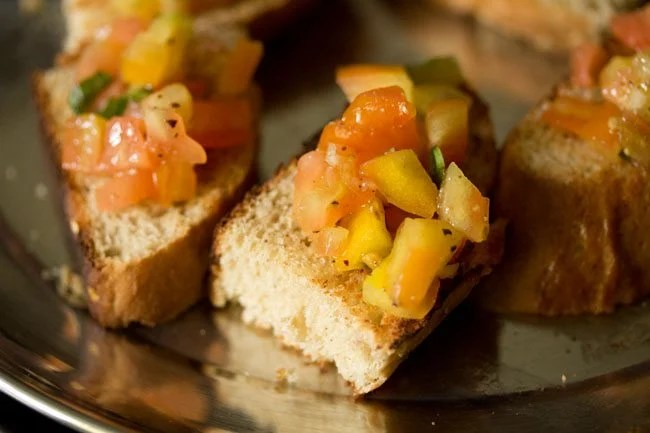 making tomato bruschetta recipe