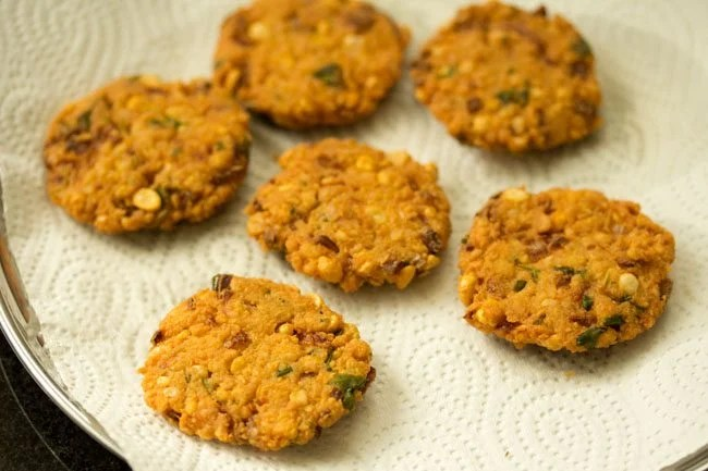 more portions of dal vada on paper towels