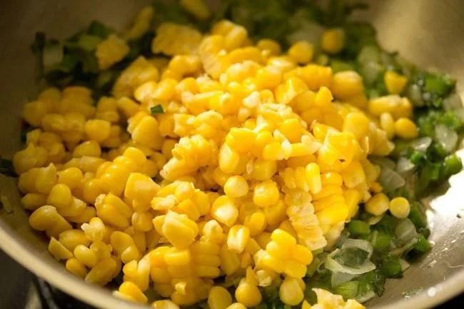 preparing sweet corn fried rice recipe