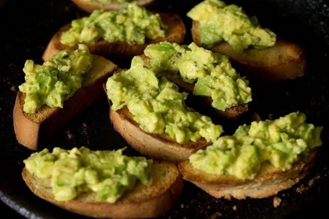 making avocado garlic toast