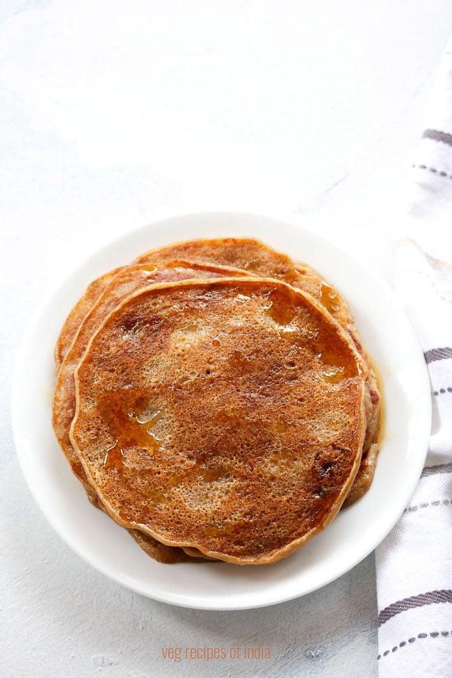eggless banana pancake recipe, egg free banana pancake recipe