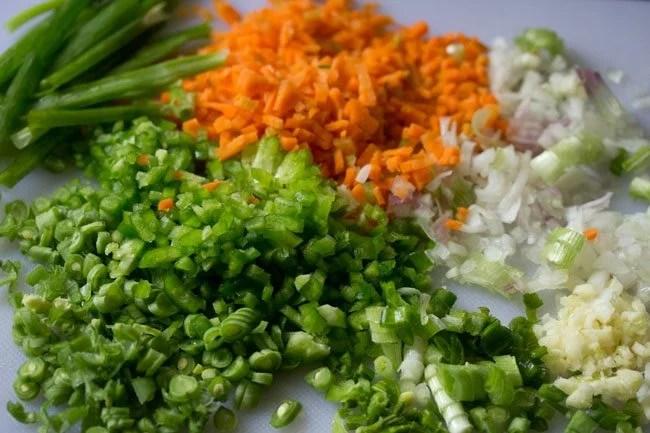 veggies for making burnt garlic fried rice recipe