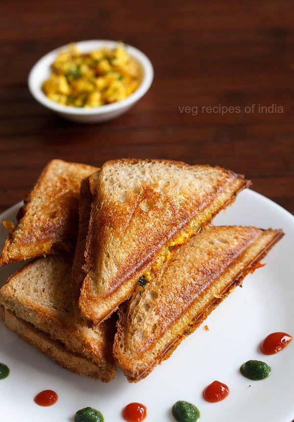 paneer bhurji sandwich recipe, paneer bhurji sandwich