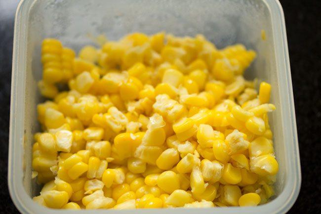 sweet corn for making schezwan fried rice recipe