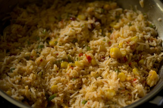 preparing corn schezwan fried rice recipe