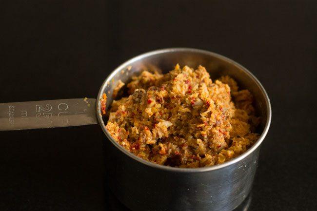 preparing mushroom bhaji recipe