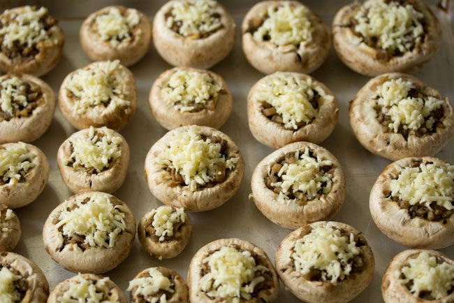 stuffed mushrooms in a baking tray